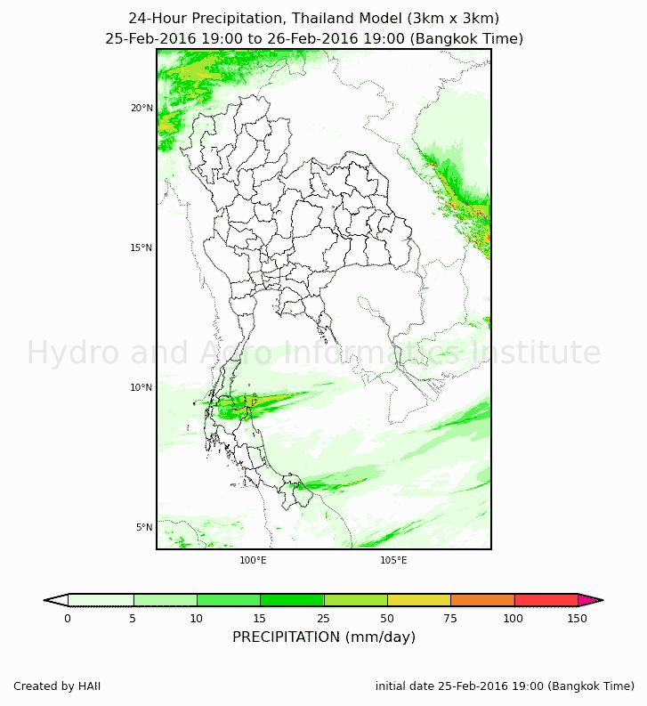 ตำแหน่งและปริมาณฝนที่จะตกในประเทศไทยและภูมิภาค 07:00 วันนี้